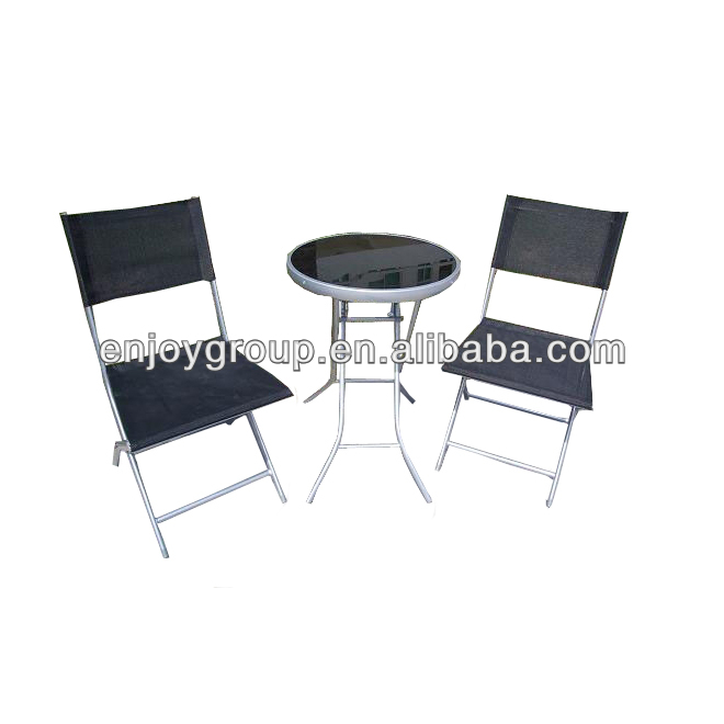 2016 black bar furniture set/steel and farbic chairs and table