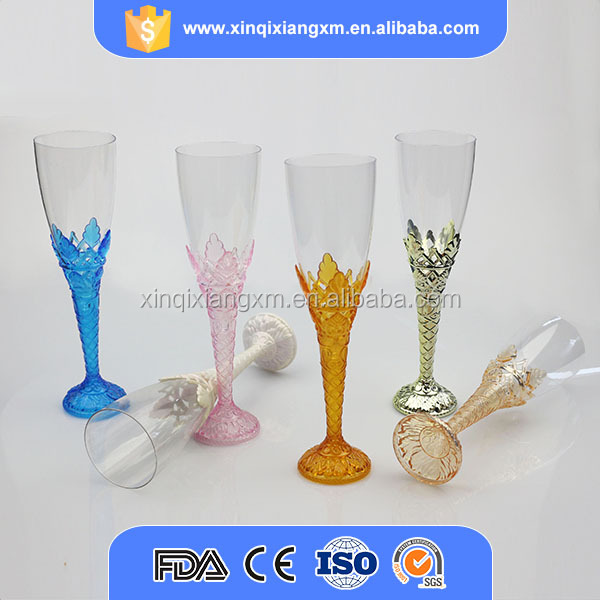FDA / SGS party disposable champagne cup , clear plastic water goblet