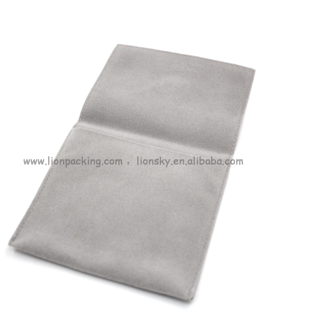 Custom logo printed small envelope flap suede bag wholesale velvet jewelry pouches