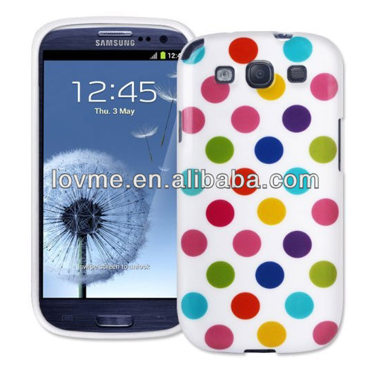 Skin / Case / Cover for the Samsung Galaxy S3 Mobile Phone Range (Galaxy S3 S 3 III i9300, White With Multi Coloured Polka Dots