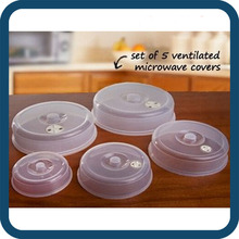5pcs Plastic Ventilated Nesting Microwave Covers with Steam Vent, Microwave Spatter Cover Food Lid
