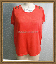 2014 Summer Red Beaded Shoulder Design Women Blouses