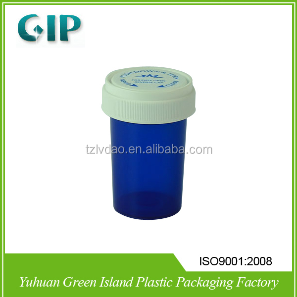 Pop Top Plastic Green Reversible Medicine Pill Pharmacial Vials Bottles