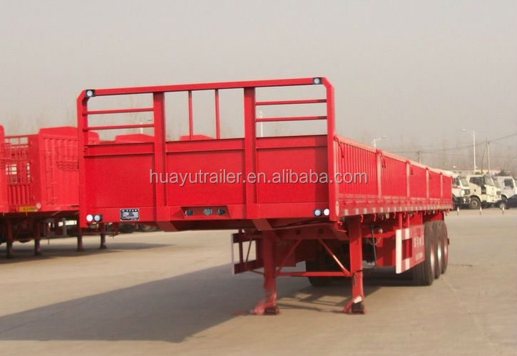 three axle flatbed side wall cargo semi trailer