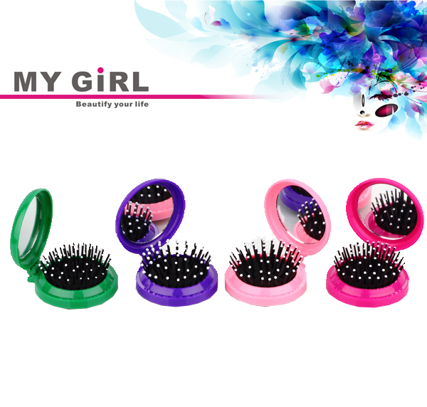 MY GIRL Round Folding Travel with Mirror Sets Mini Hair Brush