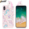 Hot selling cartoon unicorn mobile phone case for iphone 10 X soft tpu phone cover Cute cartoon 3D horse pattern tpu case