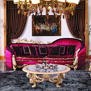 Luxury Baroque Exquisite Wood Carving Living Room Furniture/European New Classic Flamboyant Sofa set/Upholsted Lip Shap Sofa Set