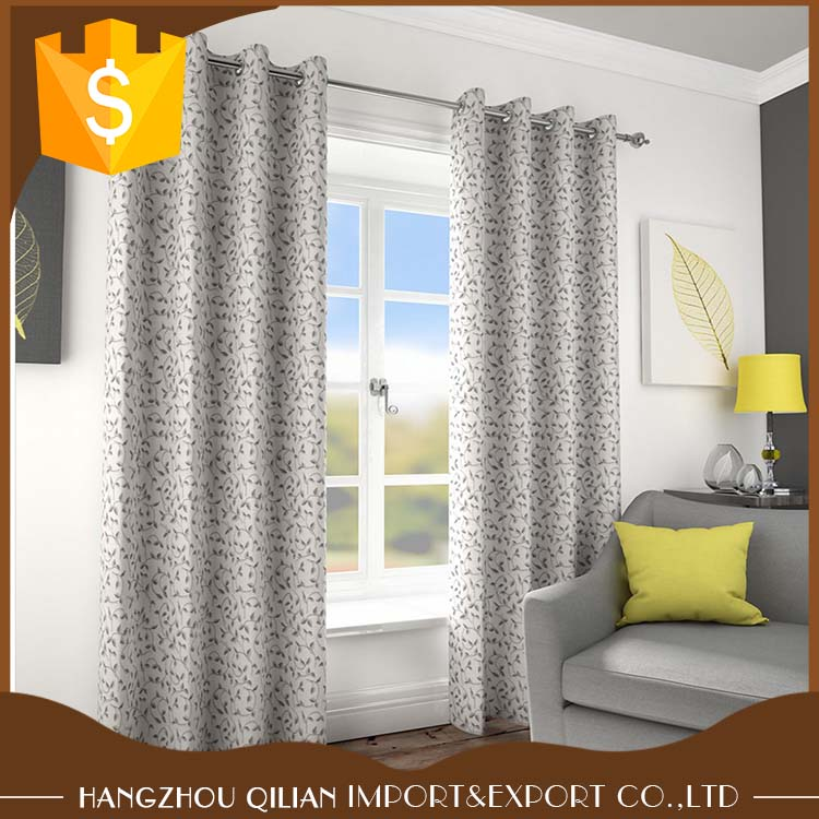 Beautiful Natural Drape Elegant Jacquard Leaf Design Ready Made Eyelet Top Curtains