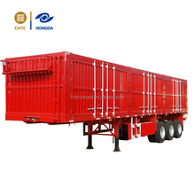 CHTC 3 Axles Enclosed Van Cargo Semi Trailer with Corrugated Plate