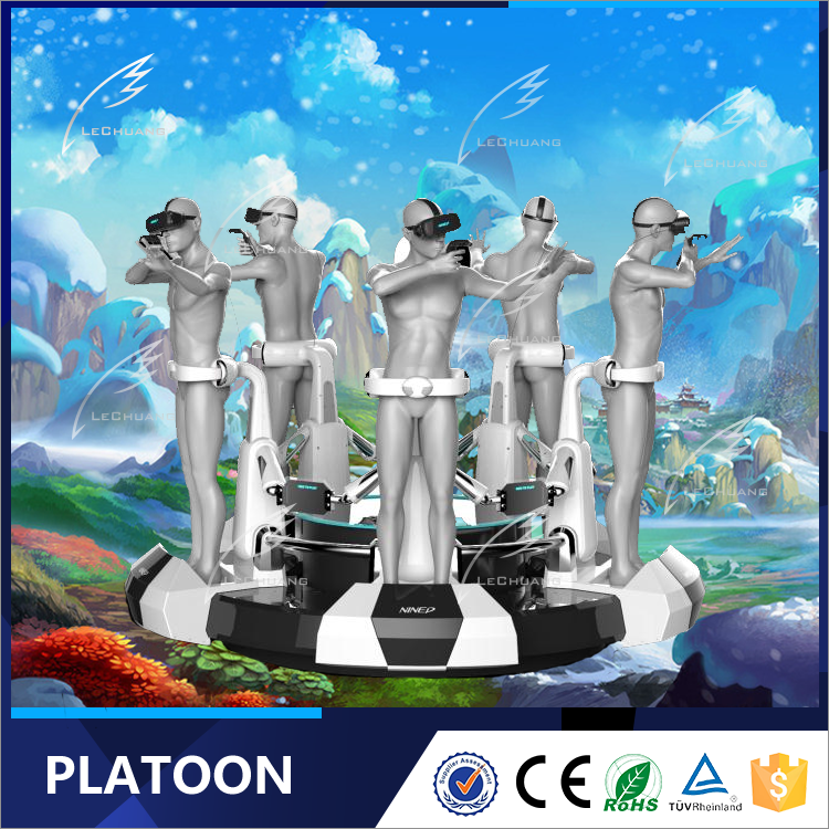 New Design Platoon Standing Up VR Machine Interactive Projector Games 3 Seat 9d VR Simulator Platoon