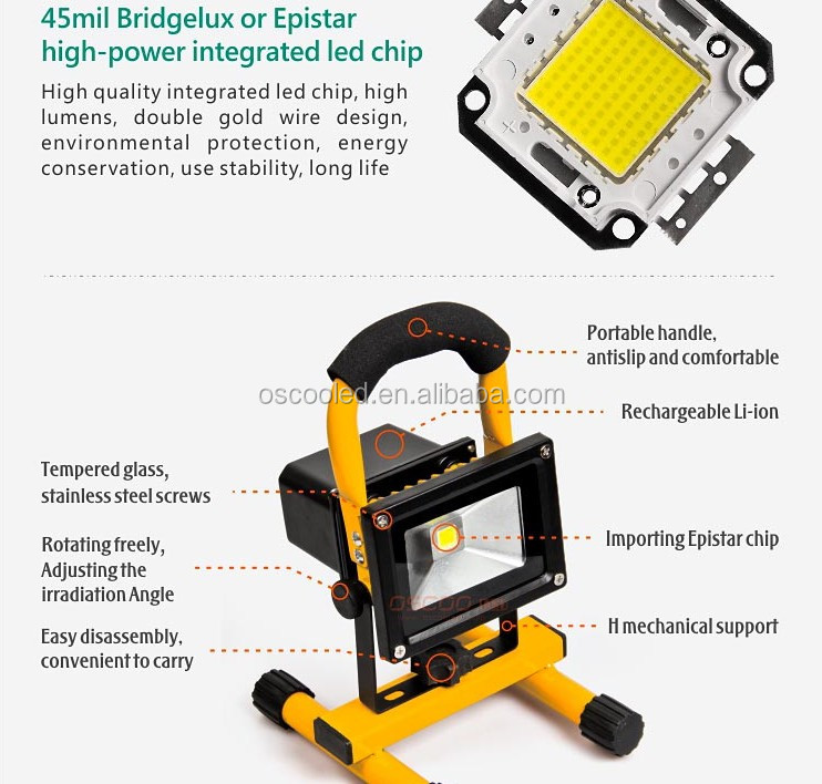 Quality IP65 Die Casting Aluminium 50,000 hours 30 Watt Portable Rechargeabl LED Floodlight with Car Charger