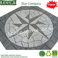 Grey granite star compass square landscaping paving stone
