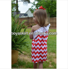 2014Wholesale Baby Girls Summer Chevron 100Knit Cotton One Shoulder Sleeve Chevron Peasant Pettidresses Zigzag Chevron Dress