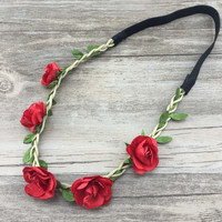 2016 New arrival crazy sell red flower headband , beach flower headband , Hawaii paper rose flower headband