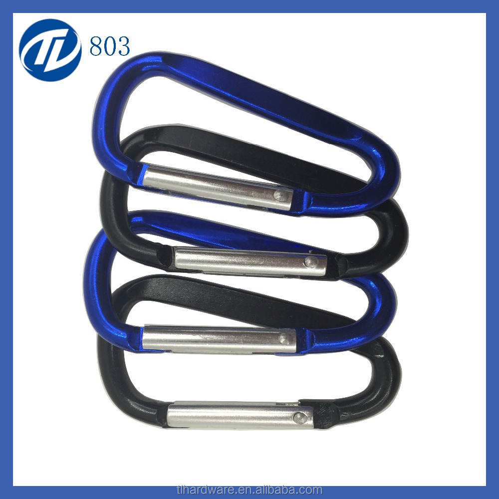 Blue Flat Aluminum Keychain Carabiner With Branded Logo