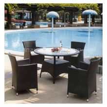 MD-211 PE Rattan 5pcs Brown dining table set