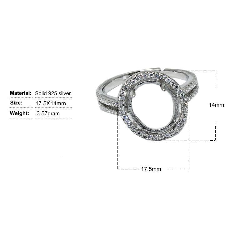 Beadsnice ID30640 925 setting adjustable US ring size 7 to 9 fit 17.5x14mm oval gemstone sold by PC silver rings