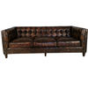 Industrial Antique Brown 3S Retro Cow Leather Sofa
