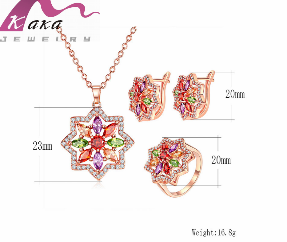 amazon hot sale item necklace set rose gold material earring ring colors rhinestone for wedding