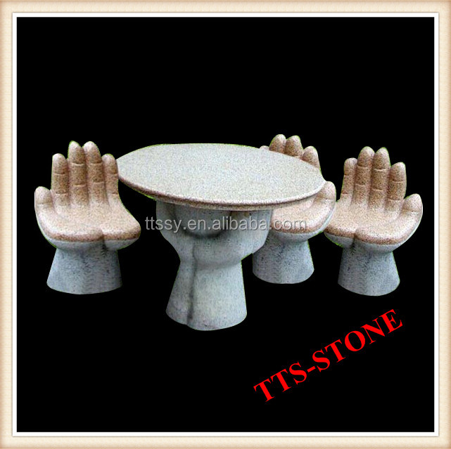 Granite carved hand stool with table