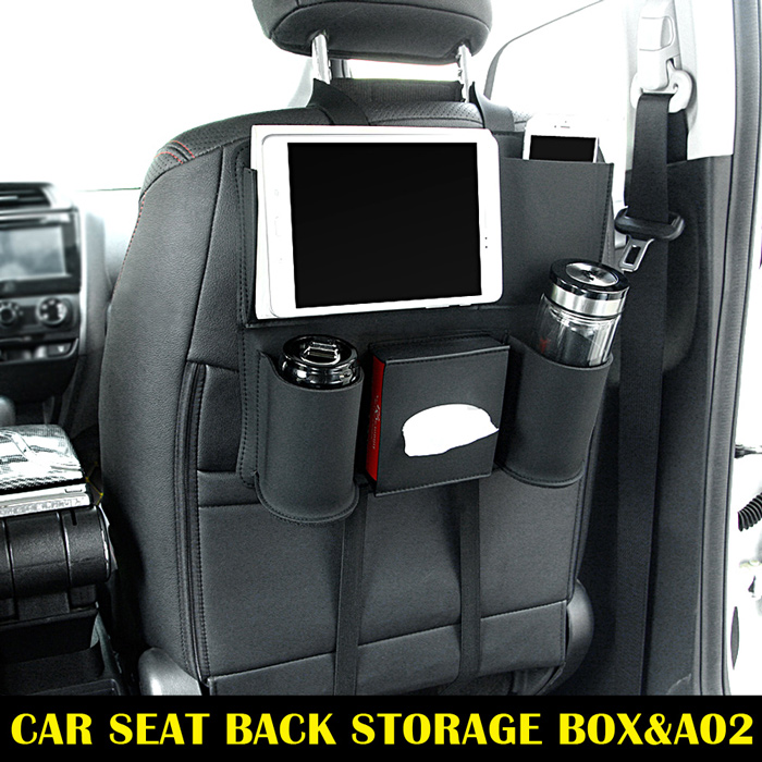 Black <strong>A02</strong> Universal Auto Car Back seat Backseat organizer storage bag Pocket Phone iPad Cup holder Tissue box Umbrella bag