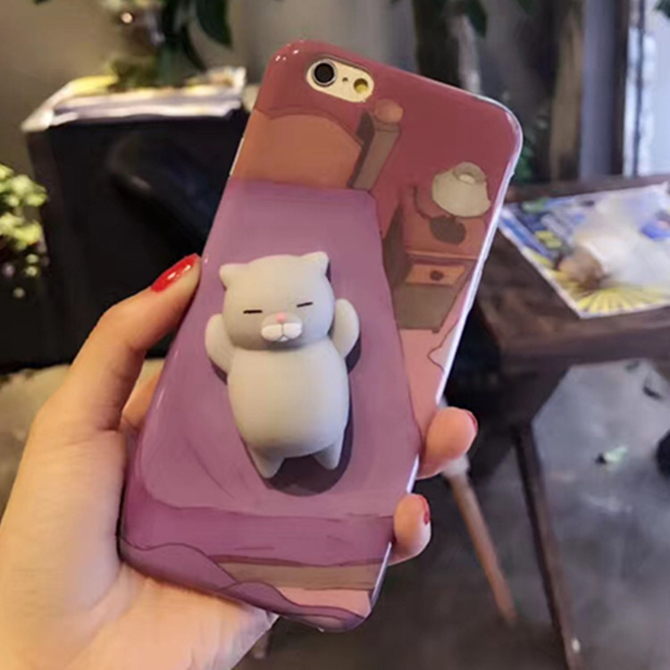 3D TPU Cat Panda Soft slow rising squishy phone case for iPhone 7