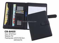 promotional bags for a4 PU Leather clipboard compendium folders with pocket and notepad