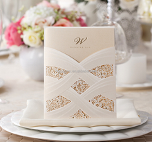 2015 Alibaba China Manufacturer Luxury Laser Cut Lace Floral White Wedding Invitation Card
