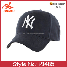 P1485 wholesale custom promotional men cotton black sport cap hat