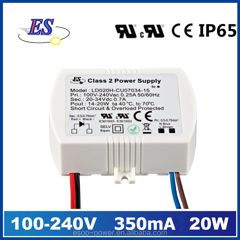 20w 350ma ac dc constant current waterproof led driver with CE,UL,CUL,IP65