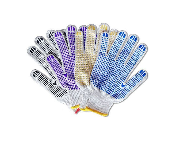 Brand MHR double pvc dots anti slip nature white hand working safety gloves