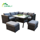 Whole sales sofa set cebu rattan furniture out door travelling 5 piece sofa set aluminum frame rattan sun lounge furniture