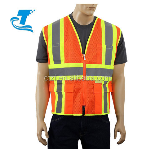 En standard men hi vis reflective safety vest with pocket & zipper closure