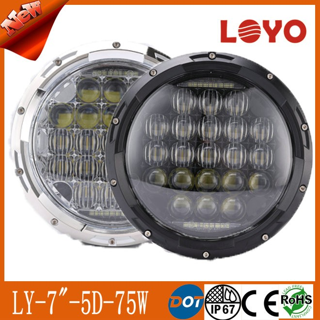 Newest 75w 7 Inch round LED headlight for jeep <strong>w</strong>-rangler