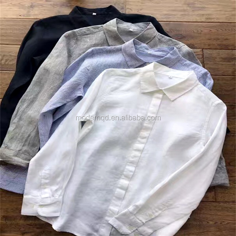 100% flax linen lady shirt wholesale factory price