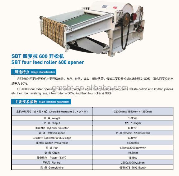 GM600 opening machine,textile waste recycling machine