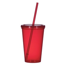 trade assurance single wall durable plastic tumbler straw cup with lid