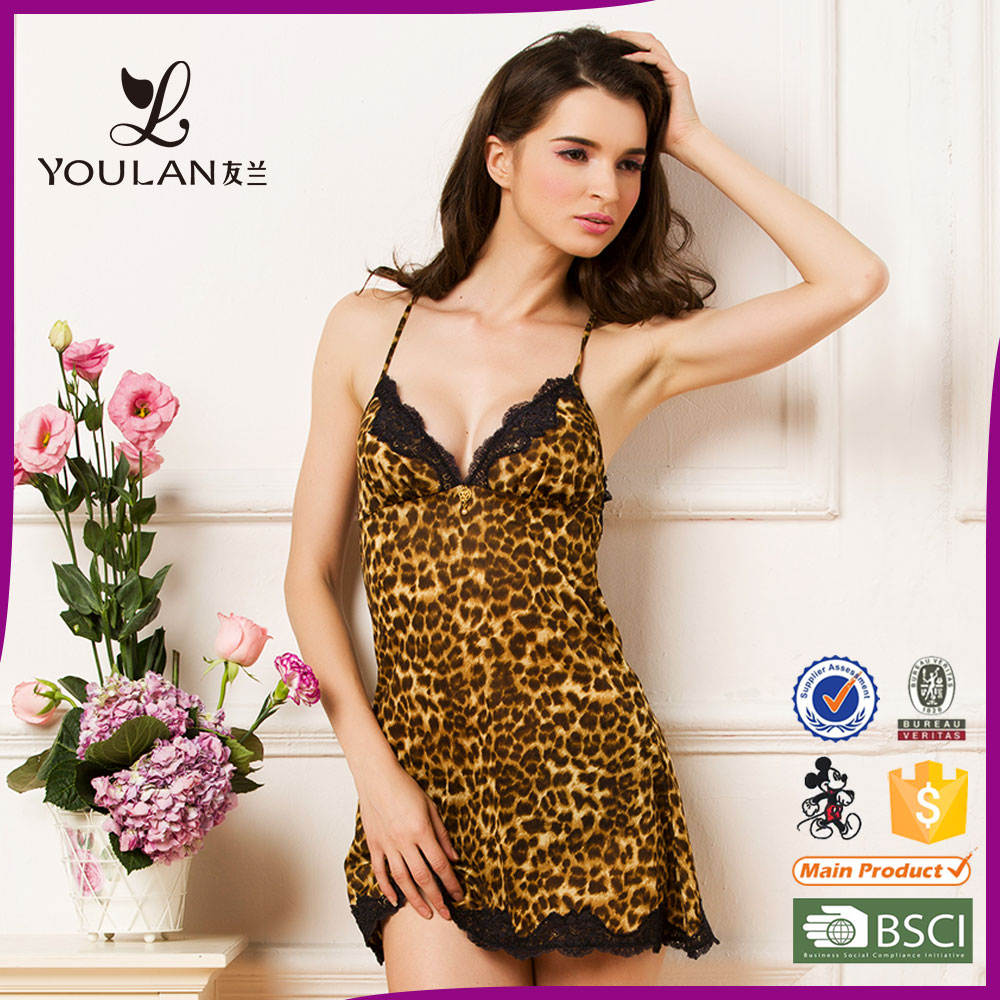 Very sexy Leopard lace girl nighty sexy night lingerie
