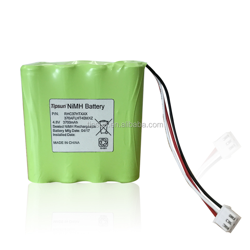 Customized 4.8V 3700mAh Size AAA Ni-MH Rechargeable Battery Pack