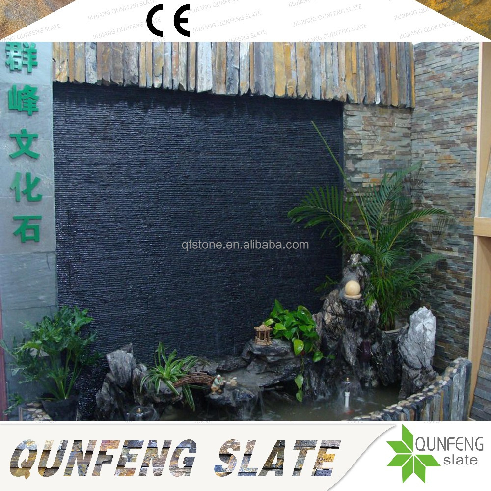 Pure Natural Black Slate Culture Stone For Interior Waterfall