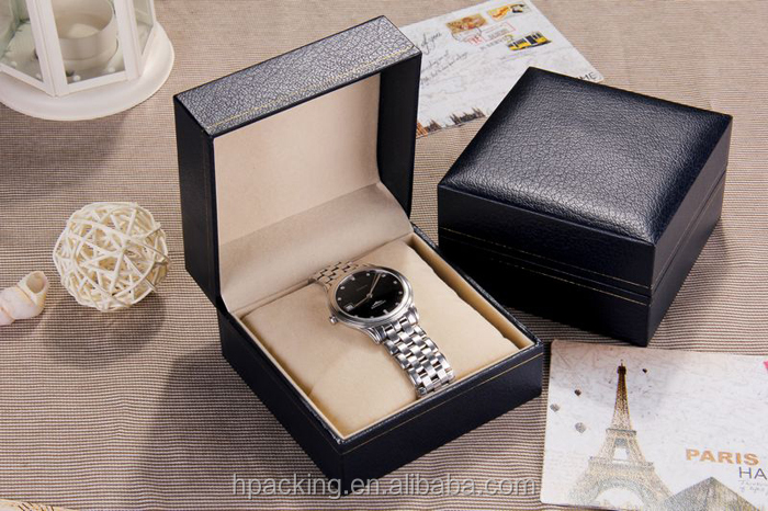 Custom Embossed Logo Black Watch Box /Case Leather