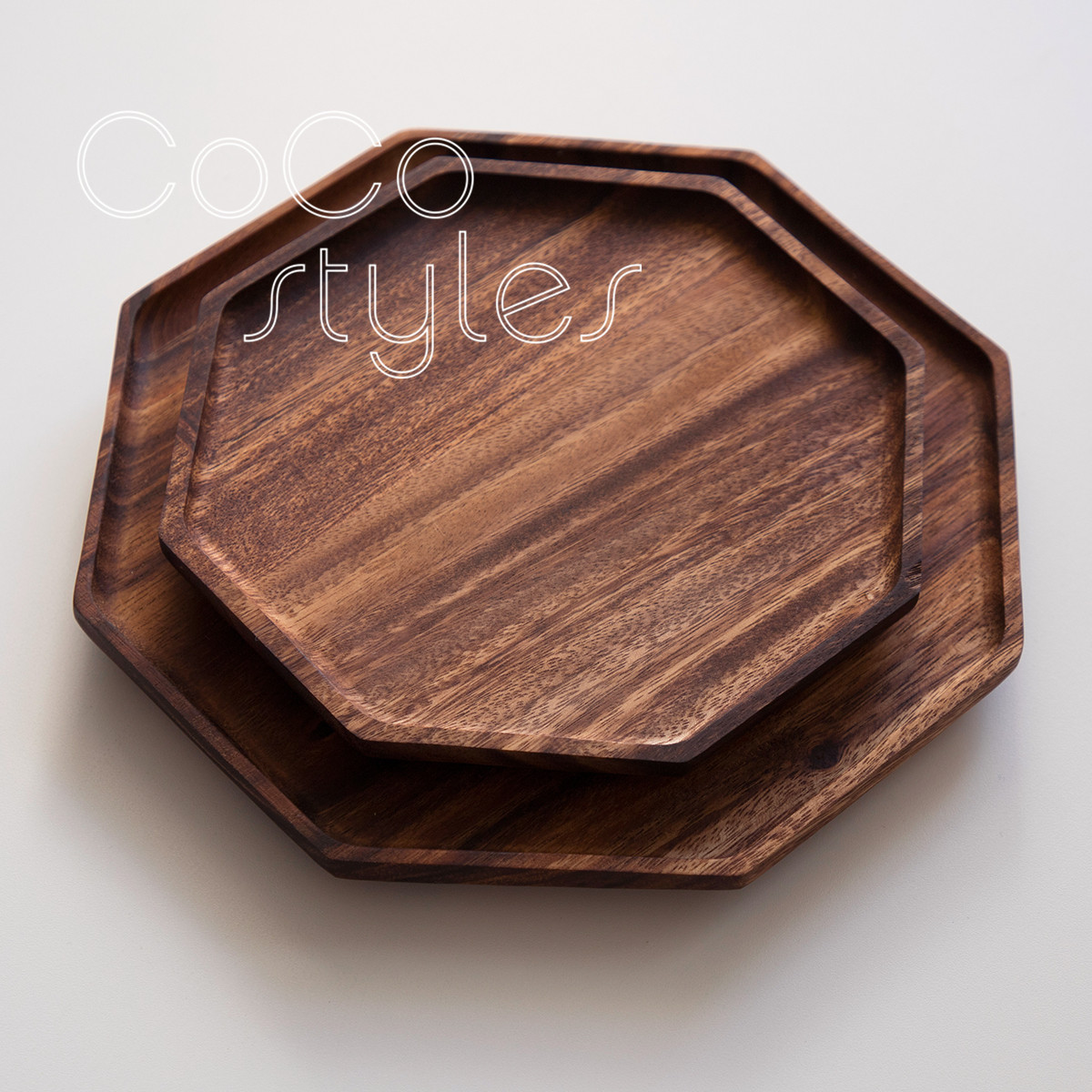 Cocostyles vintage japanese octagon wooden plate for home decor and super september