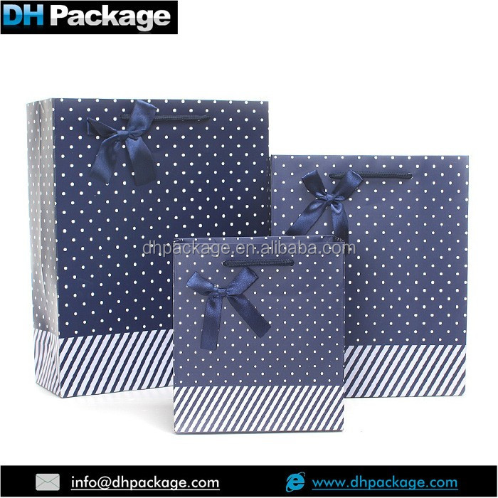 luxury navy blue dots pattern butterfly tie ribbon gift shopping bags