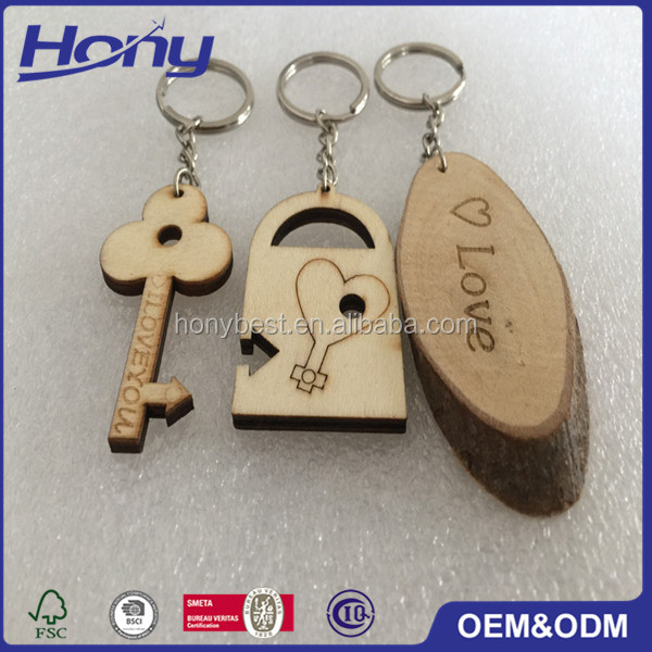 Wholesale Custom Wooden Key Chain With Name,Laser Cut Plywood Pieces for Lover