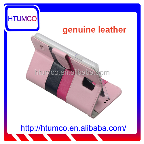 Genuine Leather Case Infinity Book Type phone case for Samsung Galaxy S5 (Pink/ Dark Pink/ Dark Blue)