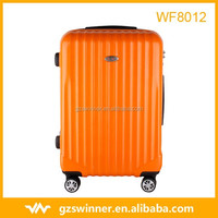 Abs hard case luggage with zipper wheel alumunium trolley luggage systems Orange color