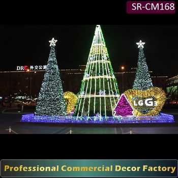 custom commercial 5m 6m 7m 10m 15m 20m outdoor giant christmas tree with light for shopping