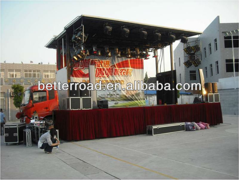 Mobile stage truck length:13m stage area:105 m2 without Cab