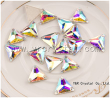 Y3270Crystal AB Stone Sew on Rhinestone Triangle Shape