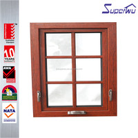 Townhouse grill design Wood Grain aluminium Awning Window